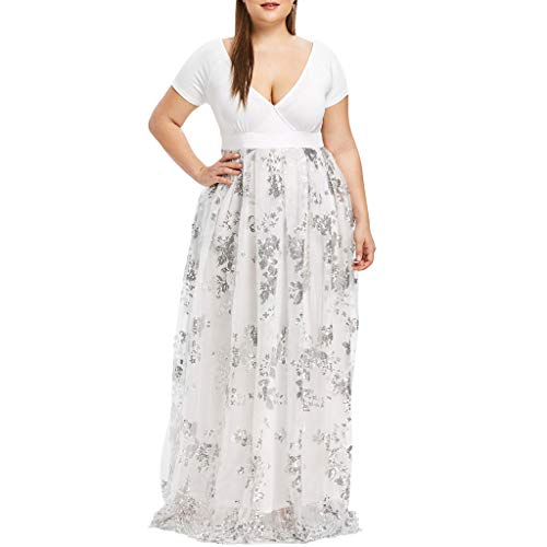 Yvelands Damen Partykleid Plus Size V-Ausschnitt Kurzarm Floral Pailletten Abendkleid aus Mesh(Weiß,EU-46/L4)