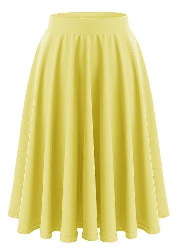 Wedtrend Damen Retro Elegant Faltenrock Hohe Taille Midi-Rock WTC10023 Yellow S