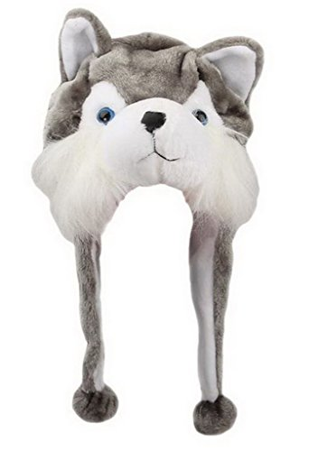 Bigood Liebe Plush Animal hat Winter Cosplay Plush Hat Plüsch Mütze One Size Wolf Grau