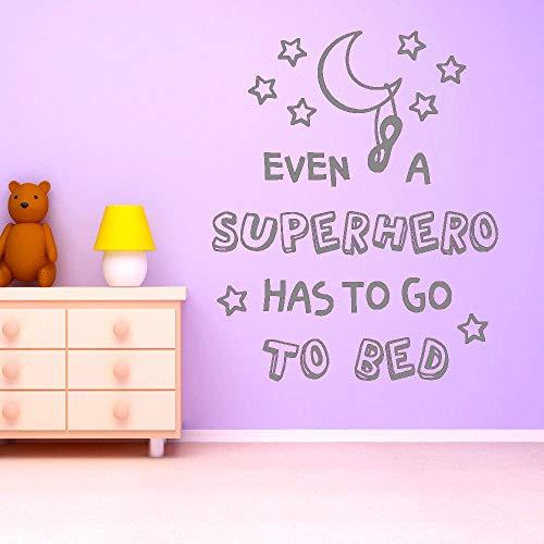 Wandtattoo Vinyl Flur Abnehmbare Wanddekoration Auch ein Superheld muss ins Bett Mädchen Jungen Kinder Wandtattoo 57 * 70cm