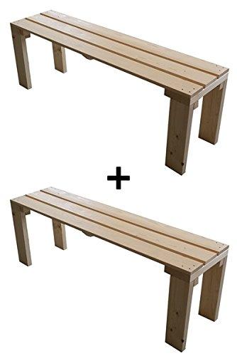 2x Banco madera jardín interior exterior 150x38.5x50H