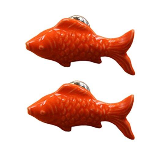 Mignon poignées de poissons rouges poignées de tiroir / armoire poignées de poignées en céramique ensemble de 4