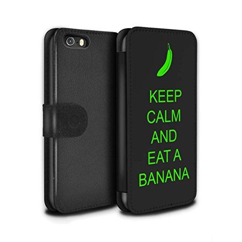Stuff4 Coque/Etui/Housse Cuir PU Case/Cover pour Apple iPhone SE / Boire du Thé/Bleu Design / Reste Calme Collection Manger une Banane/Vert