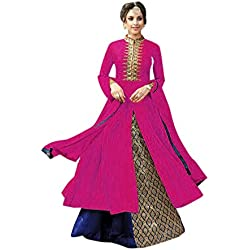 Aika Cotton Fabric Embroidery Indo Western Suit For Women ( Pink_Blue )
