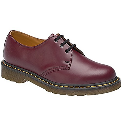 Dr. Martens - Chaussure cuir souple noir classique (coutures jaunes) 1461 - Rouge cerise, 42