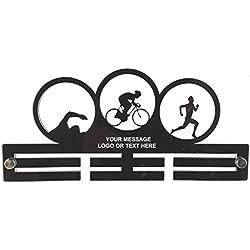 Personalizado Medalla de triatlón temáticas de acrílico soporte: grande 29cm tamaño, color negro, tamaño Approximately 29 cm Wide