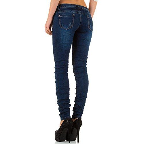 Damen Jeans Hose Jeanshose Destroyed Hüftjeans Skinny Röhre Bleistifthose Röhrenhose Blau Blau