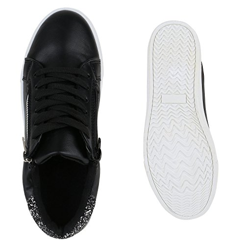 Damen Sneakers Metallic Sneaker Low Zipper Glitzer Schuhe Lack Animal Print Turnschuhe Sportschuhe Leder-Optik Plateau Flats Flandell Schwarz Autol Reißverschluss