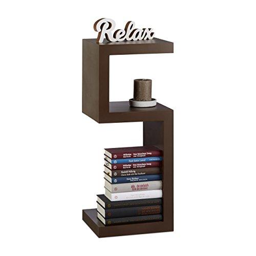 Relaxdays Standregal im Retro Design, Dekoregal mit 3 Ebenen für CDs,DVDs, Bücher, freistehend, HBT: 75x30x30 cm, braun