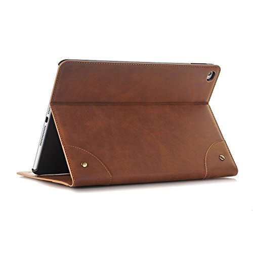 Yimiky iPad Air Schutzhüllen, PU Leder Vintage Book Style Smart Schutzhülle mit Kartenhalter Folio Stand Wallet Case für 9.7 'iPad 5, iPad Air, Hellbraun (Ip5 Wallet)