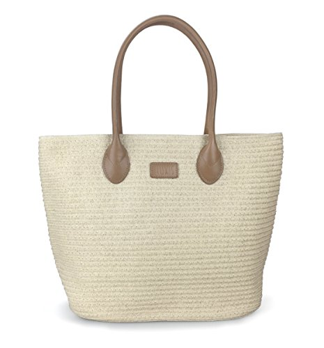 Hoxis Summer Beach Rattan Straw Woven Braid Pu Leather Deco Tote Women Shoulder Handbag (Khaki)
