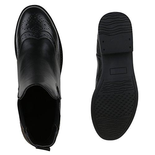 Damen Stiefeletten Chelsea Boots Lederoptik Schuhe Schwarz