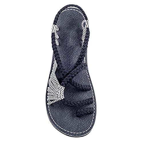 Aoweika 2019 Neue Sommer Damen Knot Sandalen Strandwandern im Freien Klassische Mode offene Zehe Flache Herringbone Sandalen Schuhe