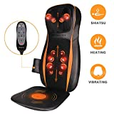 Massagesitzauflage Massagekissen Shiatsu Rückenmassage mit Wärme, 12 Rollende Knoten, Tiefe Gewebe, 3D Kneten und Vibration für Nacken Oberen & Unteren Rücken Gesäß Entspannung für Haus Büro Auto