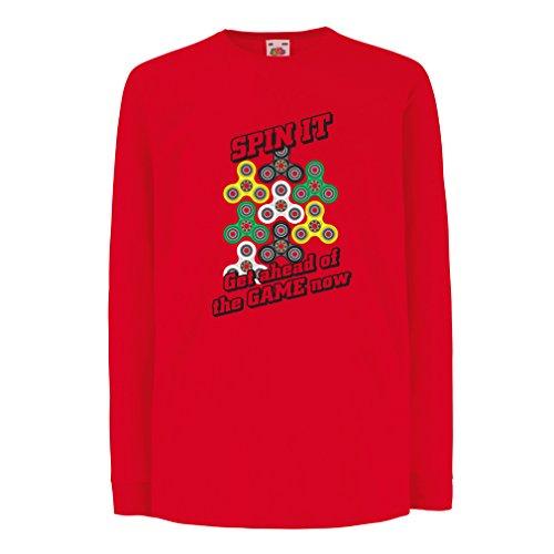 Kinder-T-Shirt mit langen Ärmeln Für Fidget Spinner Spielzeug Enthusiasten - Stress Reducer Geschenk (7-8 years Rot Mehrfarben)