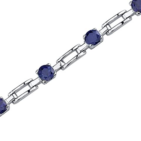Revoni Gorgeous and Chic: Round Shape Blue Sapphire Gemstone Bracelet in Sterling Silver