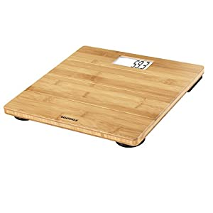 Soehnle Bamboo Natural Personenwaage für ein warmes Fußgefühl, Körperwaage mit extragroßer LCD-Anzeige, Bambus Waage mit großer Trittfläche