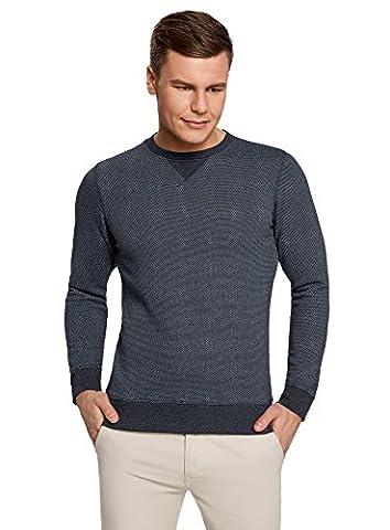 oodji Ultra Homme Sweat-Shirt Imprimé à Col Rond, Gris, FR 52-54 / L