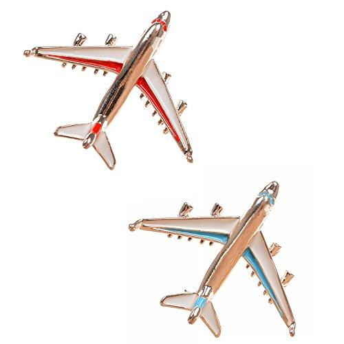 MAXGOODS 1 Set 2 Stk Mode Exquisite Flugzeug Flugzeug Pin Brosche Gold Plated Legierung Abzeichen Pin Geschenk