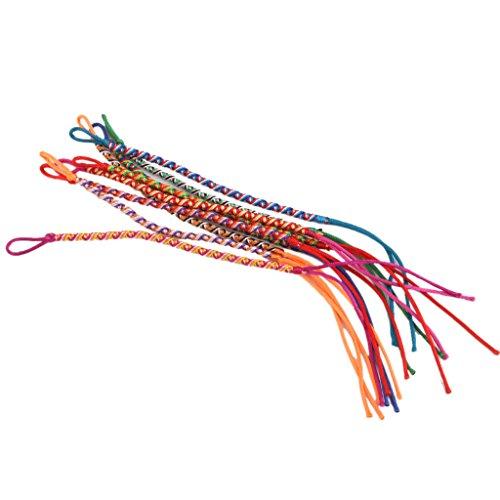 9pcs Colores Trenzadas A Mano Pulseras De La Amistad Hilo Hippie Tobillo # 4