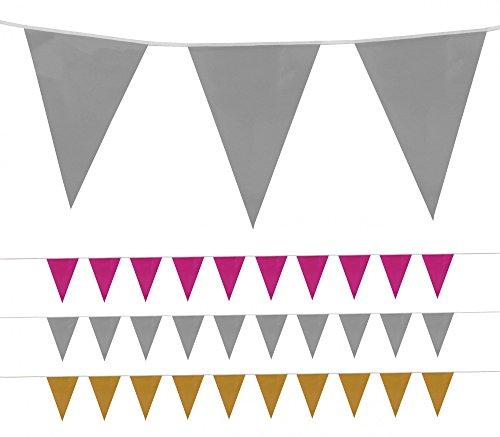 Foxxeo l einfarbige XXL Kunststoff Wimpelkette in den Farben gold, silber oder pink für Garten Geburtstag Hochzeit Party Wimpel Deko Kette, Farbe:Silber, Menge:10