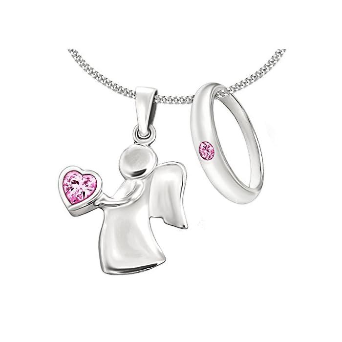Clever Schmuck Set 2 Silberne Mädchen Anhänger Engel 15 mm mit rosa Zirkoniaherz in der Hand und Taufring mit rosa…