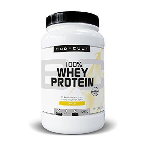 BODYCULT 100% Whey Protein   1000 g   Molkenprotein Konzentrat, Isolate Mix und Enzymen   Plus Bromelain & Papain   Ideal für Zunahme von Muskelmasse (Banane) -