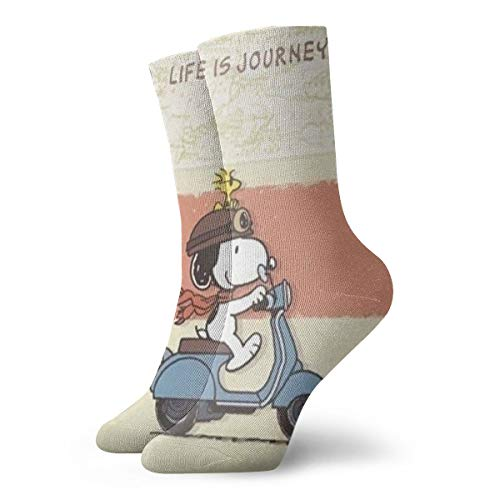 DailiH Unisex Casual Baumwollsocken, Snoopy Riding Casual Crew Socken Athletic Sports Lustige Socken Kleid Socken High Ankle 11,8 Zoll -