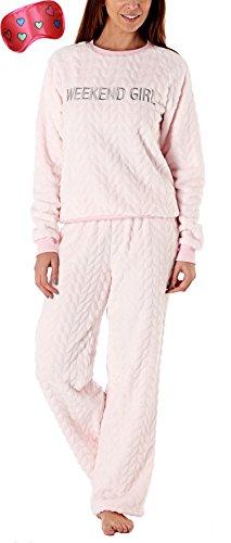 i-Smalls Frauen Schön weiche Fleece Pyjama Set Mit gestickter