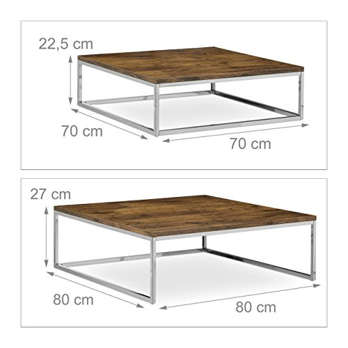 Relaxdays Flat Nested Coffee Tables Set Of 2 Natural Nesting Tables