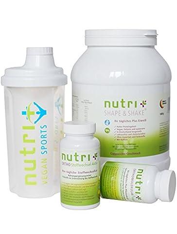 Nutri-Plus Stoffwechselkur Premium Paket (Eiweißpulver + A-Z Präparat mit OPC,