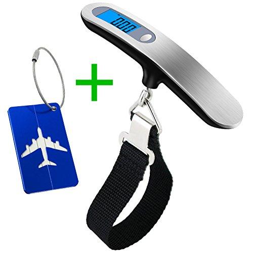 Bilancia digitale pesa bagaglio valigie,wellead bilancino digitale display lcd retroilluminato per bagagli valigie con funzione zero e tare 50kg,batteria inclusa
