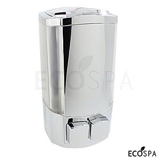 ECOSPA Dispensador de jabón cromado de doble pared para jabón, gel de ducha o champú