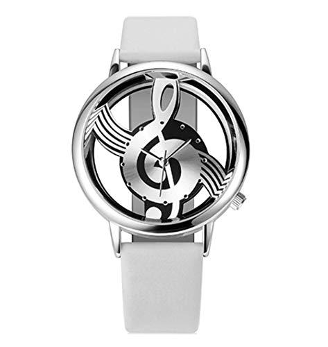 LYTU Uhren Frauen-Quarz-Analoge Hohle Artlederarmbanduhrdamen Der Musikalischen Anmerkung Beiläufige Uhr Weiblich (Musikalische Bewegung Uhren)