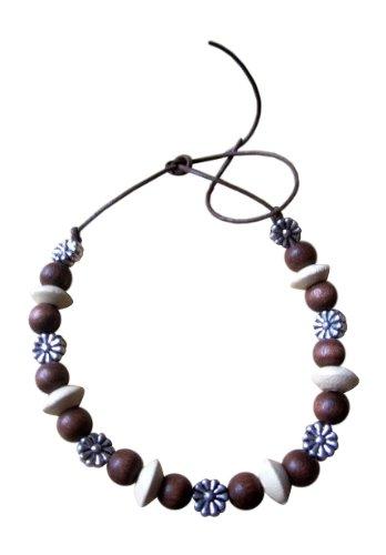 Shorething UK anhängel Hippie-chic Holz tibetischen Silber Daisy Perlen Surf Krawatte auf Armband/Fußkettchen Leder: verstellbar schwarz/creme/silber (Daisy Manschette)