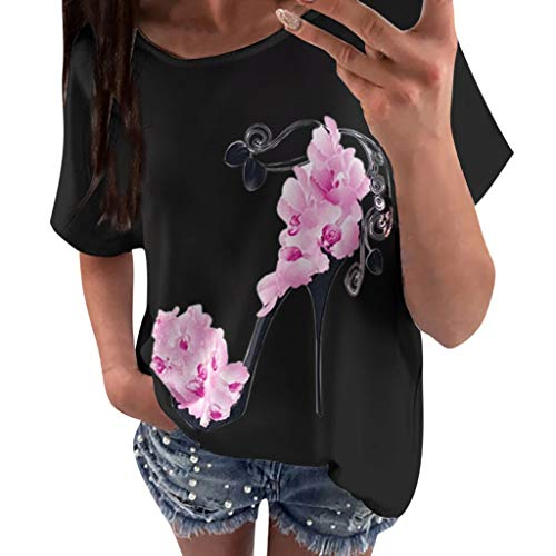 VECOLE Damenbekleidung Mode lässig Kurzarm Rundhals High Heels gedruckt Strand lässig lose Shirt Top T-Shirt(Schwarz,M) -