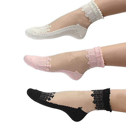 2016 Mangotree Neue Mode Sommer Damen Jahrgang Ultradünne Transparent Schöne Crystal Lace Elastische Kurze Socken Schwarz (3 pairs) (Neue Sommer Mode)
