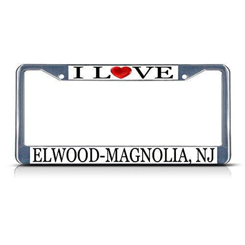Nummernschild Rahmen I LOVE Herz Elwood NJ Aluminium Metall Nummernschild Rahmen silber