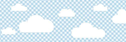 lovely label Bordüre selbstklebend WOLKEN BLAU KARIERT - Wandbordüre Kinderzimmer / Babyzimmer mit Wolken in versch. Farben - Wandtattoo...