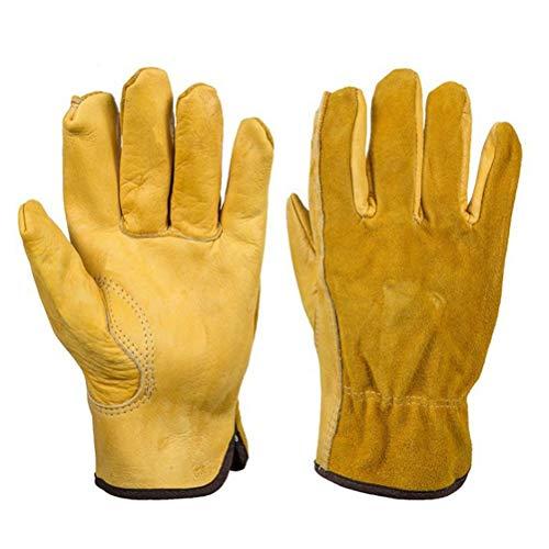 DFGTHRTHRT Unisex-Lederhandschuhe Five Fingers Wear Resistant Anti-Skid Warm Driving Dicke Handschuhe (Color : Golden, Size : L)