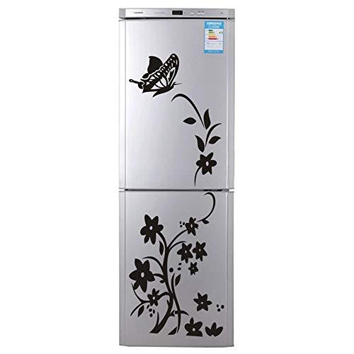 Preisvergleich Produktbild Fliyeong Premium Große Größe Schmetterling Kühlschrank Aufkleber Wandaufkleber Schlafzimmer Abnehmbare Aufkleber Bad Kunst Wandaufkleber schwarz