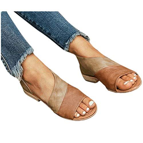 n für Damen/Dorical Frauen Sommer Retro-Peep-Toe-Sandalen mit seitlicher Abdeckung Damenschuhe Mode einfache PU-Leder Schuhe Rutschfest 35-43 EU Ausverkauf(Z12-Orange,43 EU) ()
