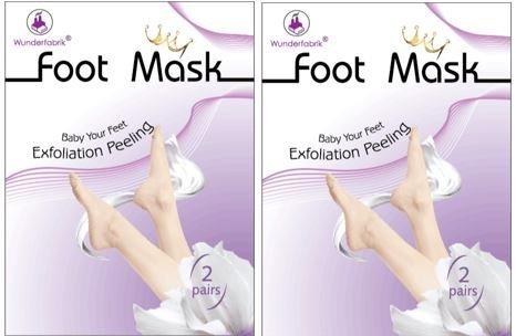 foot mask Foot Mask - Fussmaske zur Hornhautentfernung, Fußpeeling, Peeling- Maske, Doppelset (2x 2 Paar)