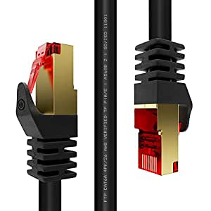 Duronic Black 2m CAT6a FTP Professional Gold Headed Shielded Network Cable - High Speed 500MHz Premium Quality Cat6 / Patch / Ethernet / Modem / Router / LAN
