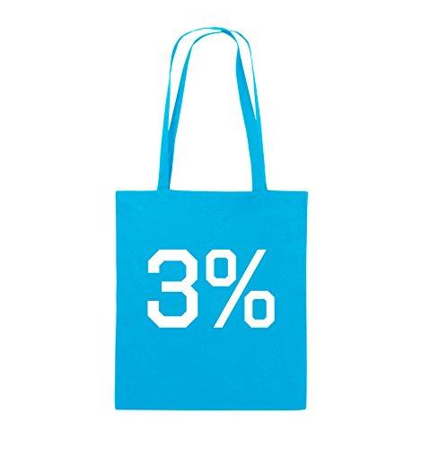 Comedy Bags - 3% - LOGO - Jutebeutel - lange Henkel - 38x42cm - Farbe: Schwarz / Pink Hellblau / Weiss