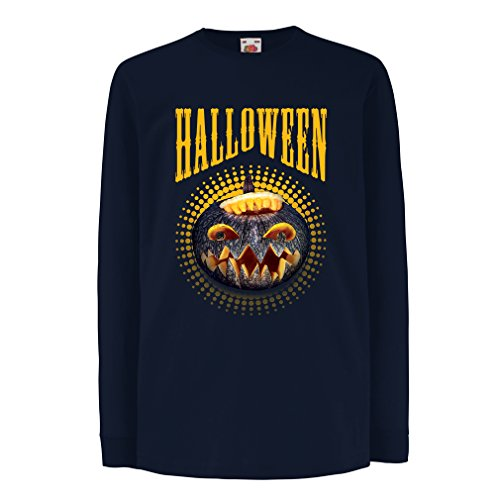 Kinder-T-Shirt mit langen Ärmeln Halloween Kürbis - Party Kostüm Ideen 2017 (7-8 years Blau (Person Party Alte Kostüm)