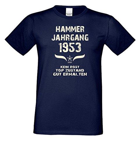 Geschenk zum 64. Geburtstag :-: Geschenkidee kurzarm Geburtstags-Sprüche-T-Shirt mit Jahreszahl :-: Hammer Jahrgang 1953 :-: Geburtstagsgeschenk für Männer :-: Farbe: navy-blau Navy-Blau