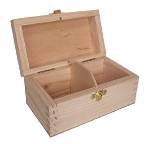 Boîte à Thé en Bois Non Peint - 2 Compartiments
