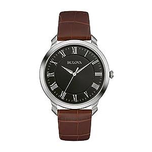 Bulova - Reloj analógico de cuarzo para hombres, correa de cuero