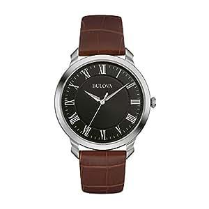 Bulova Men's Designer Watch Leather Strap - Brown Black Classic Dress Wrist Watch 96A184